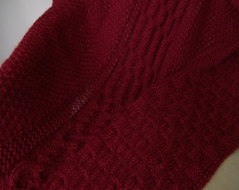 PATTERN - Bells & Cable Lattice in Autumn Red, PDF