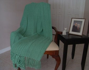PATTERN - Ripples & Mock Cable in Soft Green,PDF