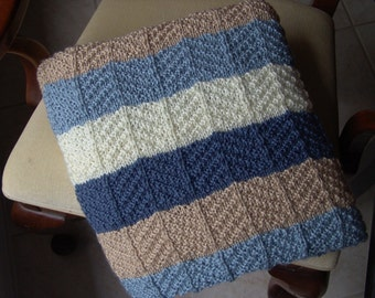 PATTERN - Ripple Stitch in Blues, Beige and Off White,PDF