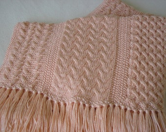 Knitted Afghan in Three Cable Patterns - Pastel Peach