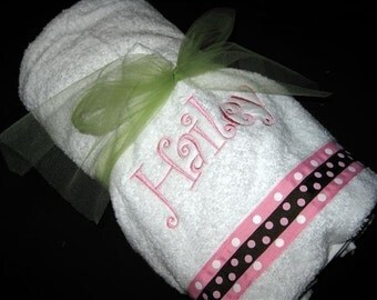 Monogrammed Hooded Towel with optional bib and burp cloth - Pink and Brown