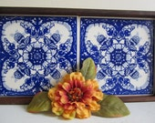 Vintage Wood Tray With Blue And White Hand Painted Tiles