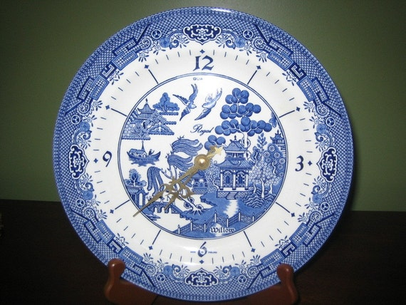 Rare Churchill Regal Blue Willow Plate Clock Made By
