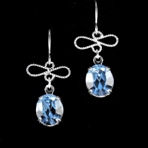 Light sapphire short and simple Swarovski crystal earrings
