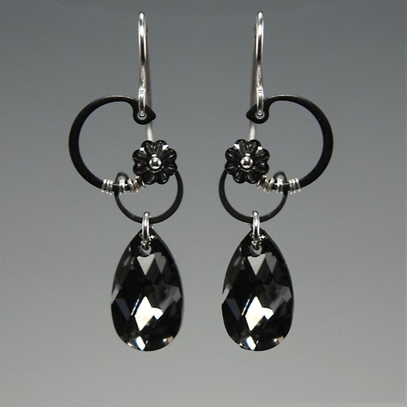 Haumea II v8: Industrial earrings with crystal silver night Swarovski crystals