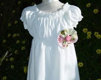 Flower girl dress, Shabby Chic, white peasant dress, white cotton child gauze dress ... Sizes 2T -10 in KNEE or TEA length.
