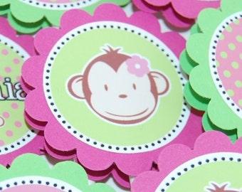 12 Girl Mod Monkey CupcakeToppers