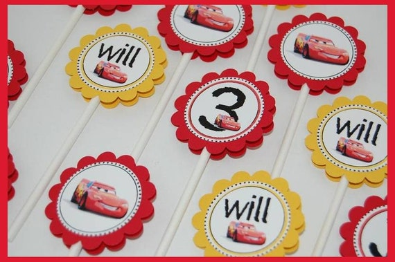 FREE Party Door Hanger when you buy two or more party listings --12 Lightning McQueen CupcakeToppers