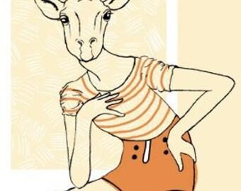 Giraffe Girl 2 Screenprint