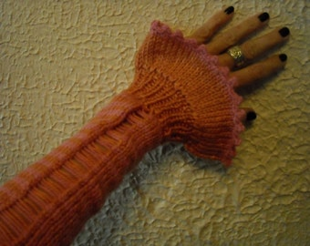 Striped Knit Sleeves/Victorian Knit Sleeves/SteamPunk Sleeves/Gift for Her/Ruffle Arm Warmers/Victorian Fingerless Gloves/Adorabella Sleeves