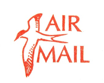 Air Mail Stamp - Hand Carved Rubber Stamp