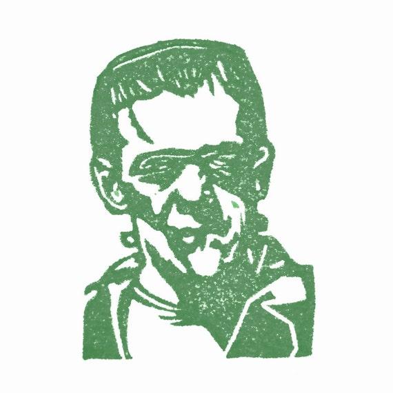 Frankenstein Rubber Stamp Hand Carved