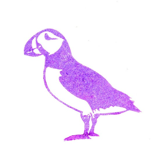 Puffin rubber stamp hand carved from jackbear on etsy studio