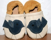 3 to 9 months blue birdie soft soled leather shoes