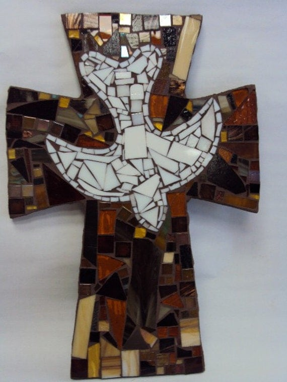 Mosaic Earth Tones Cross with Dove