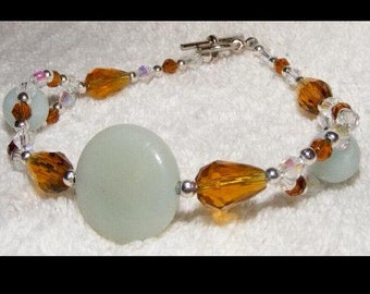 Bracelet - Pale bluegreen Amazonite natural stones & Amber Swarovski crystals