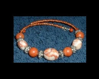 Redline Marble & Pink Jasper Memory Bracelet