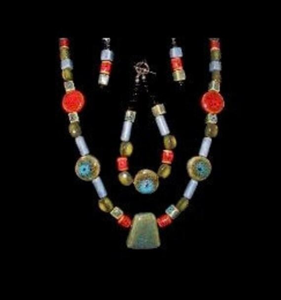 Ceramic (pottery like) Beaded Set (necklace, bracelet & earrings)