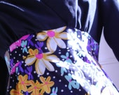 Full Length 1970s Floral Poly Dress