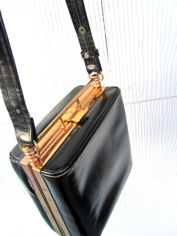 1940s Black Leather Box Purse ON SALE