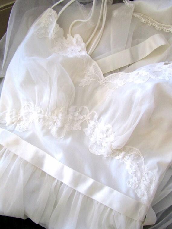 1960's Angel in White Nightie Smoking in Bed