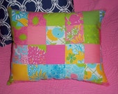 New Pillow made with Lilly Pulitzer Rainbow Patch fabric
