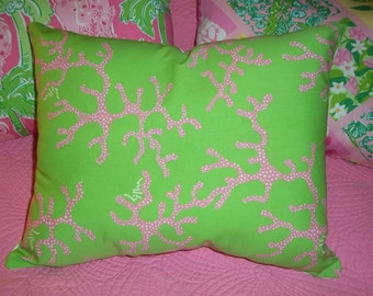 New Pillow Made With Lilly Pulitzer Coral Me Crazy fabric