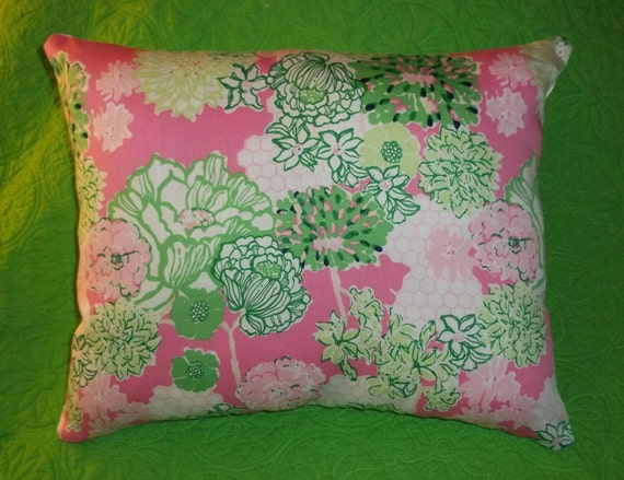 New Pillow MW Lilly Pulitzer Pink Tiger Lilly fabric