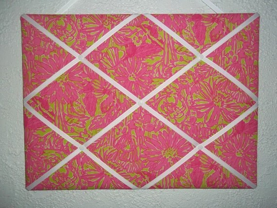 New memo board made with Lilly Pulitzer Secret Garden fabric