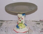 Green Cupcake Cake Stand / Dessert Pedestal / Candle Holder / Wedding Home Decor / Soap Dish / Jewelry Trinket Dish / Dresser Vanity /