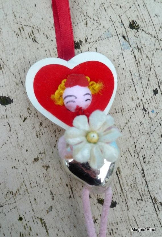 Vintage Style Valentine Girl - Spun Head Ornament