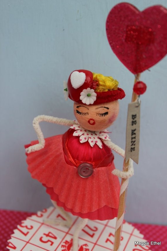 Vintage Style Valentine Girl - Spun Cotton with Be Mine Pick