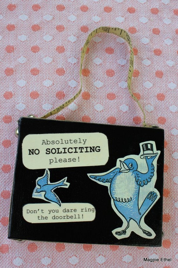 Vintage Style No Soliciting Sign - Bird