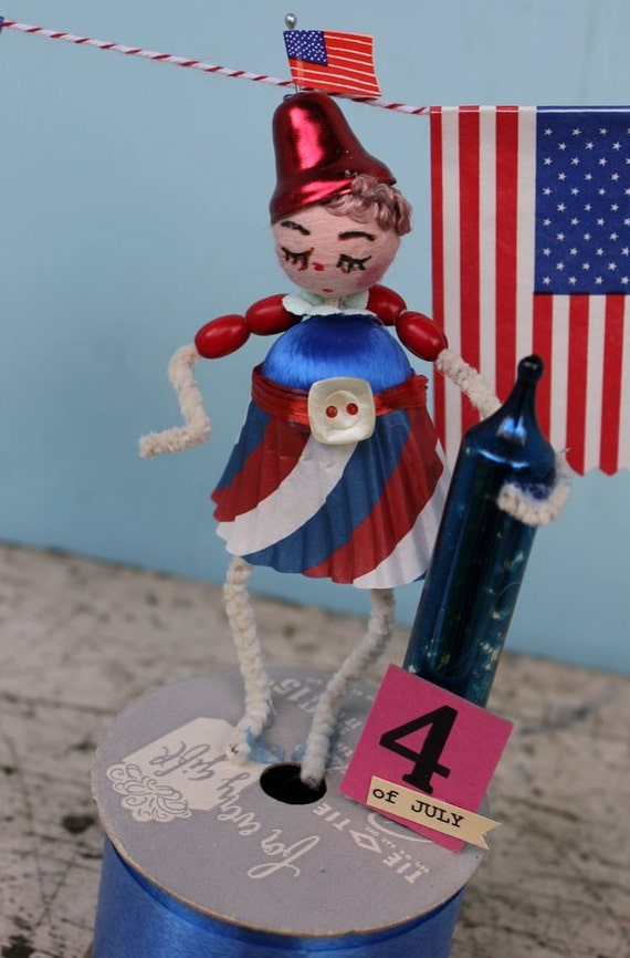 Vintage Style Spun Head Gal, Fourth of July - Patriotic Firecracker