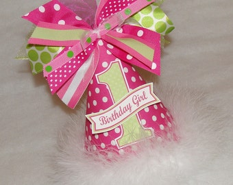 Hot Pink and Lime Green Polka Dot Party Hat