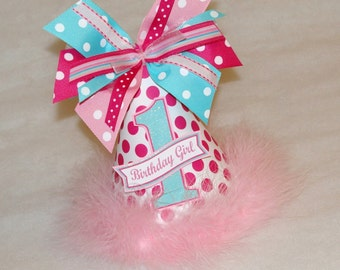 Pink and Aqua Polka Dot Birthday Party Hat