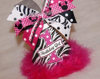 Zebra and Minnie Mouse Polka Dot Birthday Party Hat - Zebra party, Zebra Minnie Party, Minnie Mouse Party