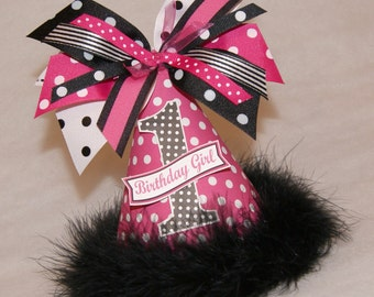 Hot Pink and Black Polka Dot Party Hat