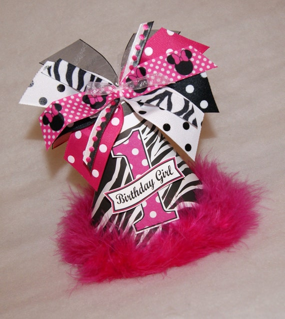 Zebra and Minnie Mouse Polka Dot Birthday Party Hat - Zebra party, Zebra Minnie Party, Minnie Mouse Party