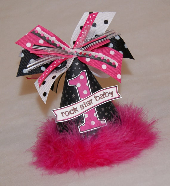 items similar to sale hot pink and black rock star baby party hat on etsy. Black Bedroom Furniture Sets. Home Design Ideas