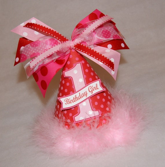 Red and Pink Polka Dot Valentines Party Hat