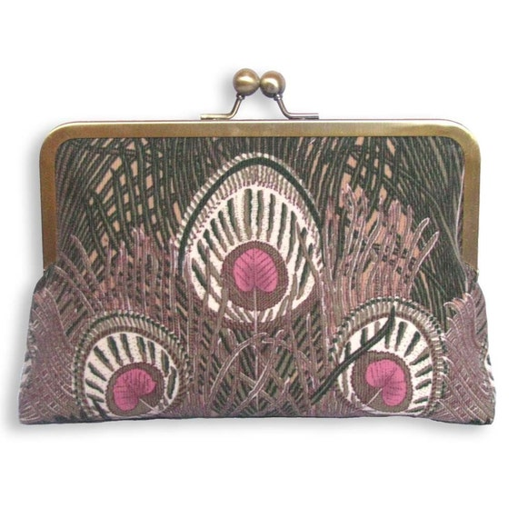 Cotton cord Liberty Peacock Feathers Clutch Purse