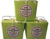 Warm Vanilla Sugar Handmade Bath Salts 5oz - phthalate free,lime green box,ivory ribbon,vegan,natural, moisturizing,scented, fragrance,relax