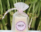 Sweet Pea Handmade Cold Process Soap Bar, 4oz - floral,feminine, for her, pale pink,vegan,natural,organic sustainable palm oil,organza bag