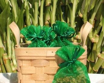 Juniper Breeze Handmade Sachet - fresh scent,phthalate free,green organza bag,natural, potpourri,fragrance,aromatherapy,wedding,shower favor