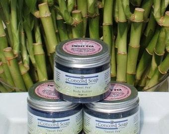 Sweet Pea Handmade Body Butter 2 oz - deep moisturizer, moisturizing, organic shea butter, foot cream,dry hands,scented,floral,feminine