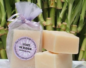 Lilacs in Bloom Handmade Cold Process Soap Bar, 4oz - floral, traditional, purple, vegan, natural, organic sustainable palm oil, organza bag