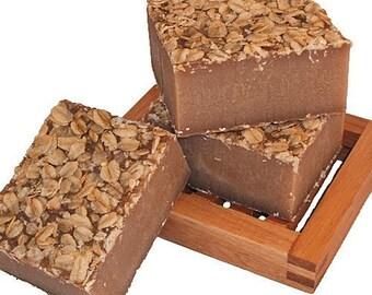 Oatmeal, Milk and Honey Handmade Cold Process Soap Bar, 4oz - oats, phthalate free, vegan, natural, organic sustainable palm oil,organza bag
