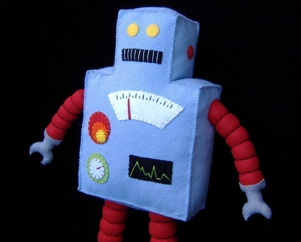 Felt Robot Pattern Retro Robot Plushie Diy Felt