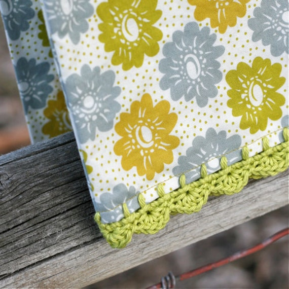 Pillow case with crochet trim...Green Fancy Floral Daydream